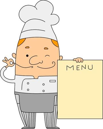 Illustration of a Chef Holding a Menu illustration