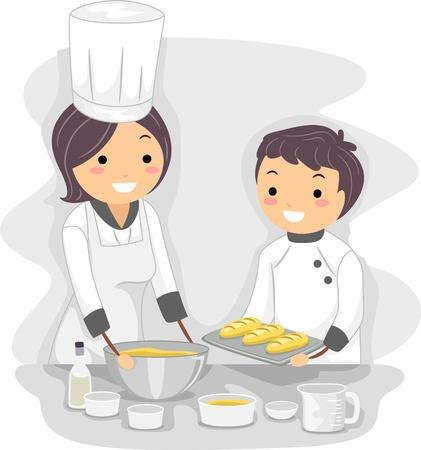 Illustration of a Baking Teacher at Work illustration