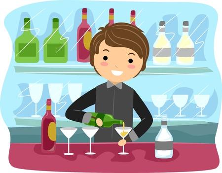 Illustration of a Bartender at Work Stock Illustration - 9991428