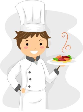 Illustration of a Chef at Work illustration