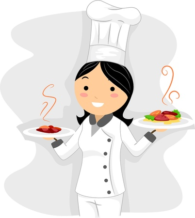 Illustration of a Chef at Work Stock Illustration - 9991396