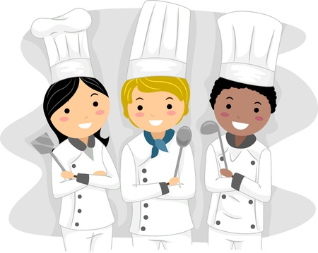Illustration of Chefs with Different Ethnic Backgrounds illustration