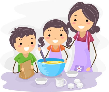 Illustration of Family Baking Pastries Together Stock Illustration - 9991424