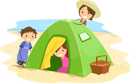 Illustration of a Family Building a Tent Together illustration