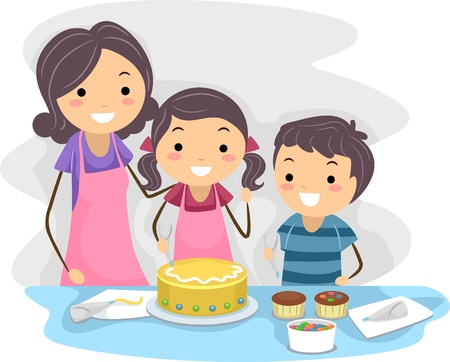 Illustration of a Family Decorating Cakes Together illustration