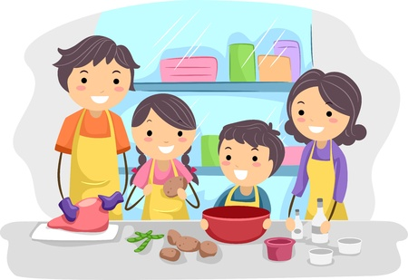 Illustration of a Family Preparing Ingredients for Cooking Stock Illustration - 9991446