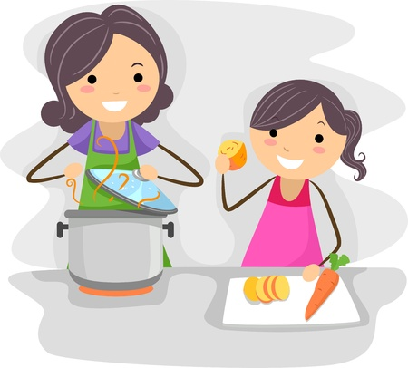 Illustration of a Mother and Daughter Cooking Food Together illustration