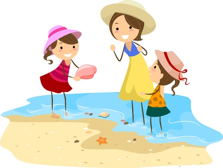 Illustration of a Family Picking Shells illustration