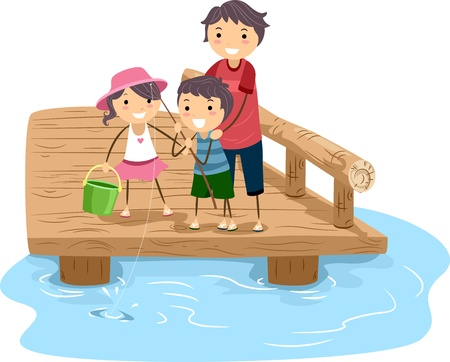 Illustration of a Family Fishing Together illustration