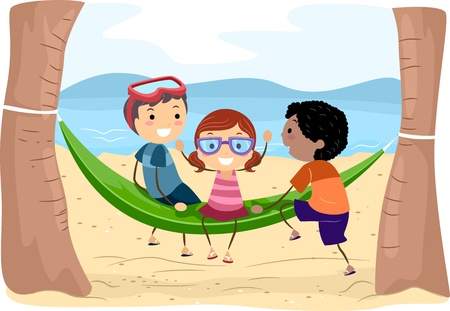Illustration of Kids on a Hammock illustration