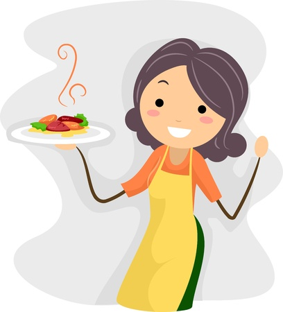 mums: Illustration of a Homemade Dish Stock Photo