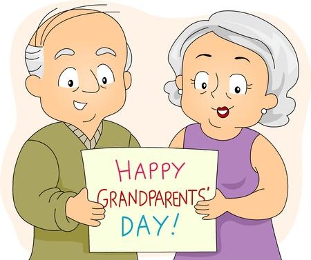 Illustration of an Elderly Couple Holding a Poster illustration
