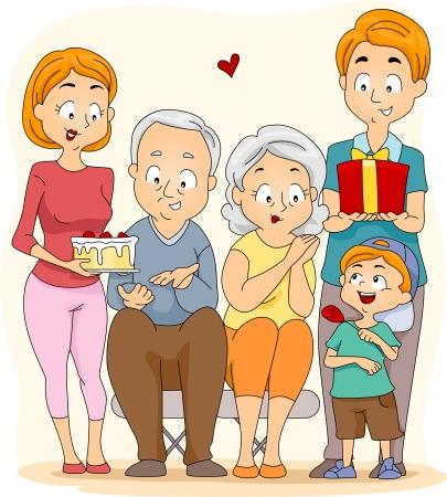 Illustration of a Family Celebrating Grandparents Day
