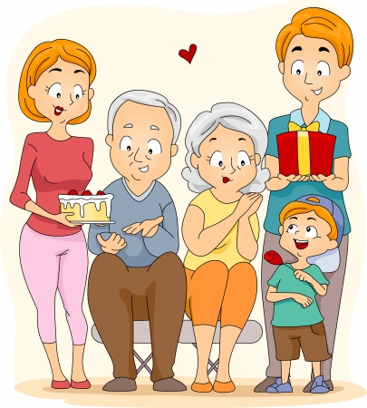 Ilustraci�n de una familia que se celebra el d�a de los abuelos Foto de archivo - 9991457