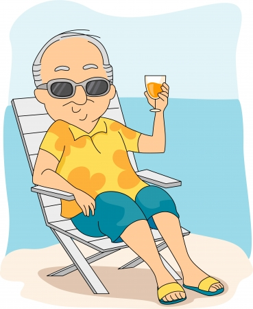 retiree: Illustration of a Retiree Enjoying His Vacation Stock Photo