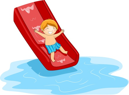 Illustration of a Kid Playing in the Pool Side Stock Illustration - 9991412