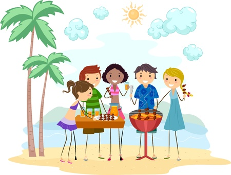 Illustration of Friends Having a Barbecue Party Stock Illustration - 9991439