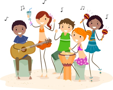 Illustration of Friends Having a Beach Party Stock Photo