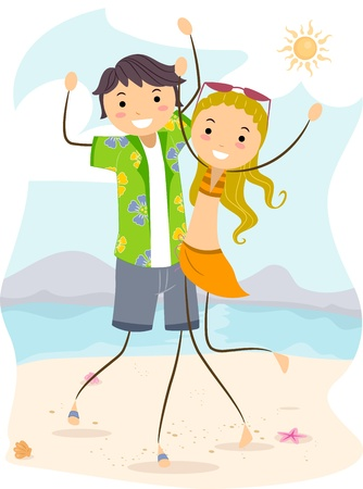 Illustration of a Couple Enjoying their Summer Vacation illustration