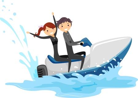 moto acuatica: Ilustración de una pareja cabalgando juntos un Jet Ski