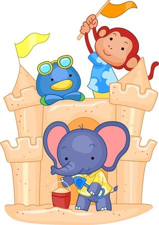 Illustration of Animals Building a Sand Castle illustration