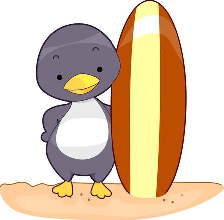 Illustration of a Penguin Holding a Surfboard illustration