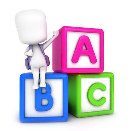 abc blocks: 3D Illustration of a Kid Posing with Learning Blocks