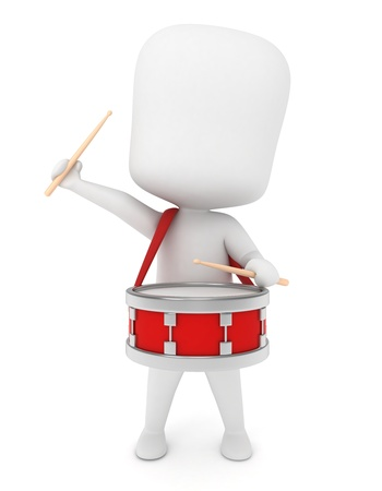 3D Illustration of a Kid Playing with a Drum illustration
