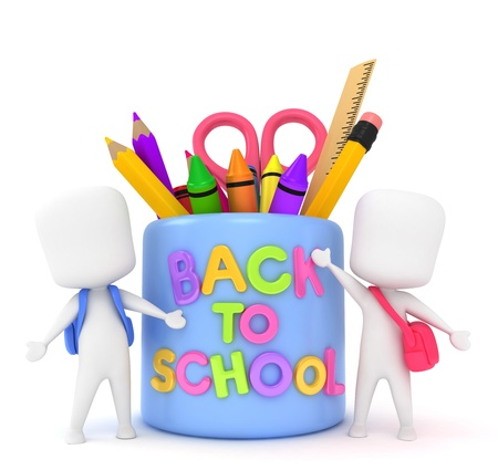 children school clip art: 3D Illustration of Kids with a Back to School Mug Stock Photo