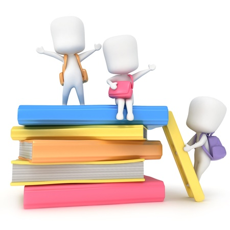 early learning: 3D Illustration of Kids Hanging Around a Pile of Books