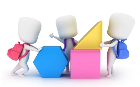 3d kids: Illustration of Preschool Kids Assembling Building Blocks