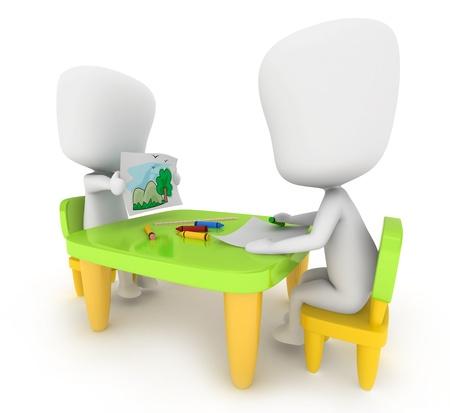 3D Illustration of Kids Drawing illustration