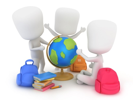 human geography: Illustration of Preschool Kids Using a Globe