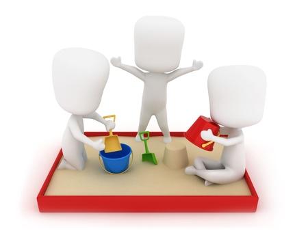 sandbox: 3D Illustration of Kids Playing in the Sandbox