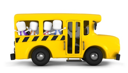 leaving: 3D Illustration of Kids Waving From the School Bus
