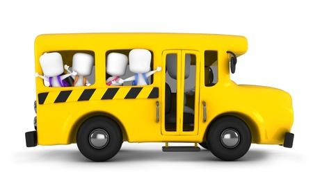 niños saliendo de la escuela: Ilustración 3D de niños agitando desde el autobús escolar