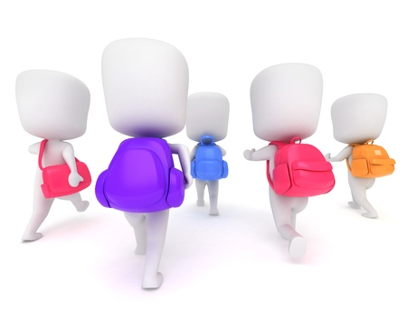 classmate: 3D Illustration of Preschool Students Walking to School (Back) Stock Photo