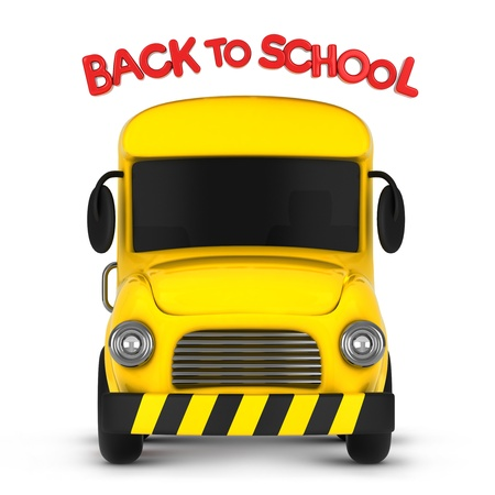 cartoon bus: 3D Illustration of a School Bus with a Back to School Sign
