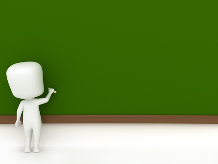 3D Illustration of a Kid Drawing on the Blackboard illustration