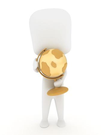 Illustration of a Man / Kid Holding a Globe Stock Illustration - 10132485