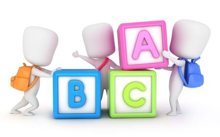 pals: 3D Illustration of Kids Arranging Learning Blocks