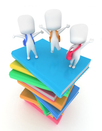 top of the world: 3D Illustration of Kids Standing on Top of Books