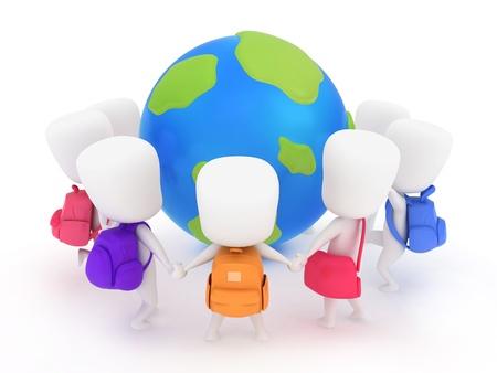 fraternidad: Ilustración 3D de los niños de preescolar que rodean un globo