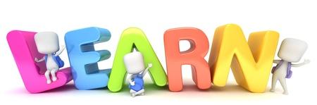 early learning: Ilustraci�n 3D de ni�os posando con la palabra aprender Foto de archivo