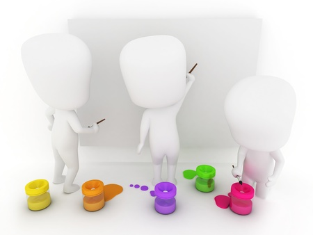 3D Illustration of Kids Trying to Paint illustration