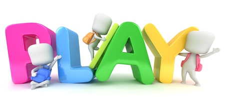 play school: 3D Illustration of Kids Posing with the Word Play