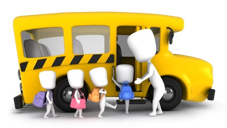 school buses: 3D Illustration of Kids Being Guided into a School Bus