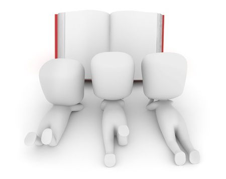 3D Illustration of Children Reading a Story Book Stock Illustration - 10132513