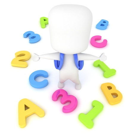 man of letters: 3D Illustration of a Kid Surrounded by Letters and Numbers Stock Photo