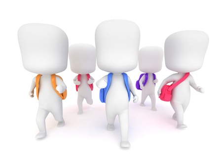late: 3D Illustration of Preschool Students Going to School